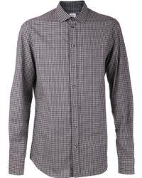 Armani Gray Checkered Shirt - Lyst