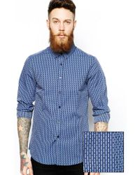 Asos Smart Shirt in Long Sleeve with Dobby Print - Lyst