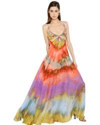 Emilio Pucci Embellished & Printed Silk Chiffon Dress - Lyst