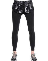 Adidas By Stella Mccartney Shiny Nylon Shorts Microfiber Leggings - Lyst