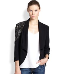 Sachin & Babi Bezzina Beaded-shoulder Draped Crepe Blazer - Lyst