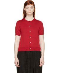 Comme des Garçons Red Wool Knit Short Sleeve Cardigan - Lyst