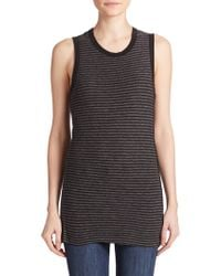 James Perse Striped Tomboy Tank Top black - Lyst