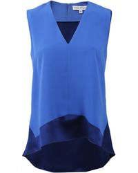 Narciso Rodriguez Silk Combo Blouse blue - Lyst