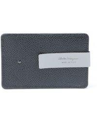 Ferragamo Nero Pebbled Leather Gancini Card Case - Lyst