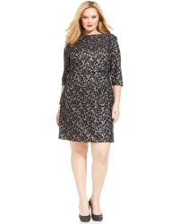 Tahari By Asl Plus Size Contrast Lace Tiered Dress - Lyst