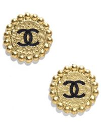Chanel Pre-owned Cc Gold Medallion Clip On Earrings - Lyst