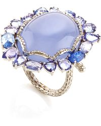 Nina Runsdorf | 18k White Gold Ring with Calcedony Blue Sapphire and Pave Diamonds | Lyst