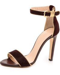 Club Monaco Casey Haircalf Sandals  Burgundygold - Lyst