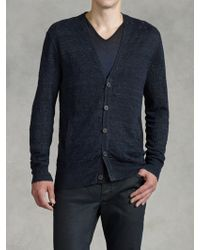 John Varvatos Ladder Stitch Button Cardigan - Lyst