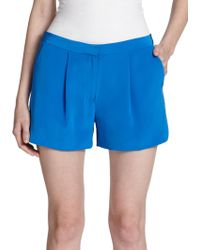 Vince Silk Pleated Shorts - Lyst