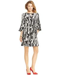 Tahari By Asl Petite Graphic-print Belted Shift - Lyst