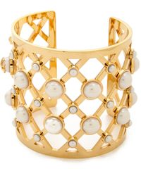 Tory Burch Glass Pearl Wide Cuff - Ivoryshiny Brass - Lyst
