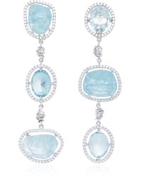 Jordan Alexander - Mo Exclusive: One Of A Kind 18k White Gold Diamond And Aquamarine Earrings - Lyst