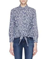 Equipment 'Daddy Tie Front' Floral Print Shirt blue - Lyst