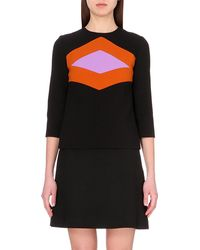 Marni Geometric-Panel Wool-Blend Top - Lyst