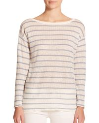Polo Ralph Lauren Striped Pointelle-Linen Sweater - Lyst