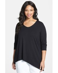 Eileen Fisher Soft V-Neck Jersey Top - Lyst