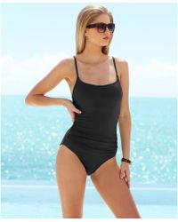 Anne Cole Classic Ruched One-Piece Swimsuit - Lyst