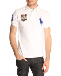 Polo Ralph Lauren White Slim Fit Big Pony Crest Polo Shirt - Lyst
