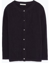 Zara Jewel Button Cardigan - Lyst