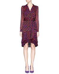 Diane von Furstenberg 'Catherine Two' Polka Dot Silk Chiffon Wrap Dress red - Lyst