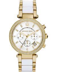 Michael Kors Parker Golden Stainless Steel Glitz Watch - Lyst
