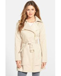 Guess Asymmetrical Zip Trench Coat - Lyst