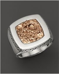 John Hardy - Men'S Naga Silver And Bronze Square Ring - Lyst