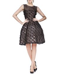 Oscar de la Renta Bow-Embellished Dress With Sheer Long Sleeves - Lyst