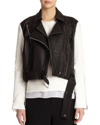 Helmut Lang Colorblocked Pebbled-Leather Moto Jacket - Lyst