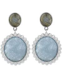 Slane - Nuage Double Drop Milky Aquamarine & Labradorite Earrings - Lyst