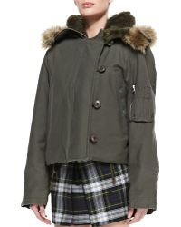 McQ by Alexander McQueen Faux-fur Hooded Cropped Jacket - Lyst
