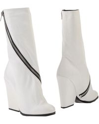 Celine White Ankle Boots - Lyst