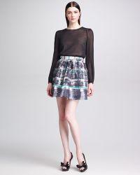 Valentino Tartan Plaidprint Faille Skirt - Lyst