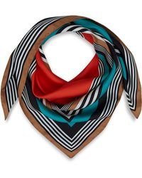 Jonathan Saunders - Turquoise Striped Silk Scarf - Lyst