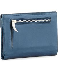 Romy Gold Metallic Leather Flap-Top Wallet - Lyst