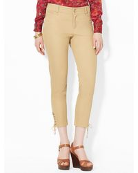 Lauren by Ralph Lauren Cropped Cotton Skinny Pant - Lyst