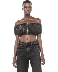 Alexander Wang | Ruched Off-the-shoulder Crop Top | Lyst