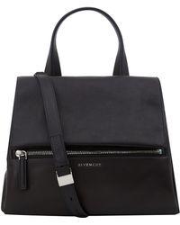 Givenchy Medium Black Pandora New Leather Flap Handbag - Lyst