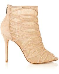 Karen Millen Lace And Suede Shoe Boot - Lyst