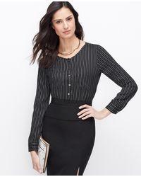 Ann Taylor Petite Pindot Stripe Pocket Blouse - Lyst