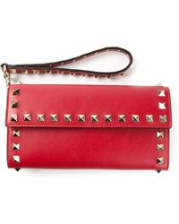 Valentino Red Studded Wallet - Lyst