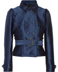 Burberry Prorsum Belted Satintwill Jacket - Lyst