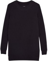 Denham Black Chunky Knit Jumper Dress - Lyst