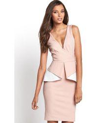 Lipsy Peplum Scuba Dress - Lyst