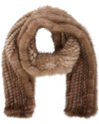 Barneys New York Mink Pullthrough Scarf - Lyst