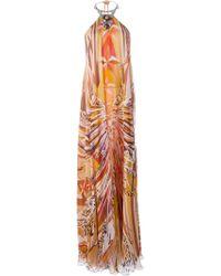 Emilio Pucci Metallic Collar Printed Gown - Lyst