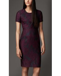 Burberry Floral Jacquard Shift Dress - Lyst