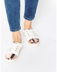 Lost Ink - Gold Toe Cap Lace Up Plimsolls - Lyst